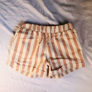 Peach candy stripe shorts